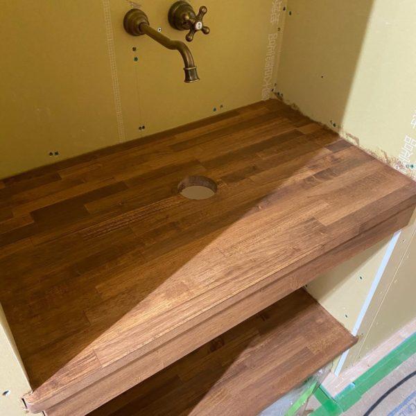 滋賀草津の新築物件。廊下に設置した手洗いスペース