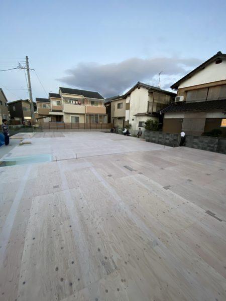 滋賀県草津市の新築木造2階建て、土台引き完了