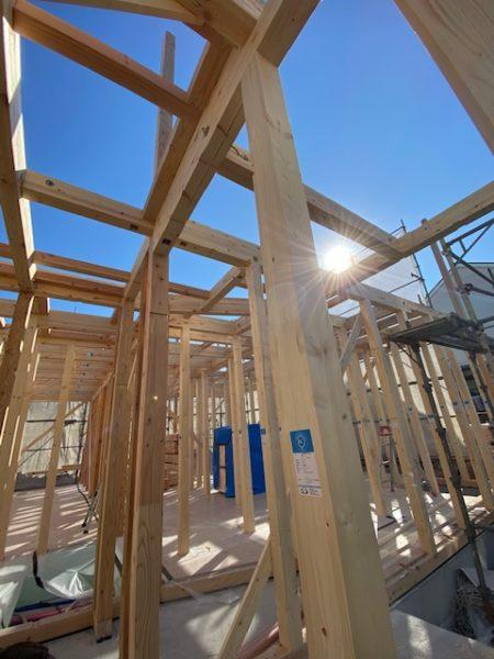 滋賀県草津市の新築木造共同住宅、上棟日