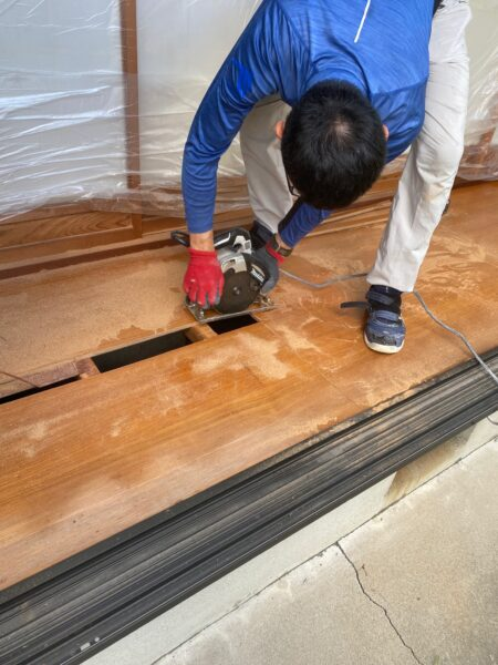 滋賀県草津市の縁甲板張替リフォーム工事